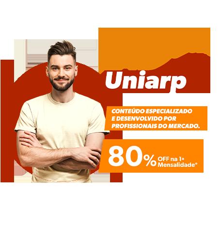 Semana da Escola de Educação EAD Uniarp. Conteúdo Especializado e desenvolvido por profissionais do mercado. 80% off na primeira mensalidade.